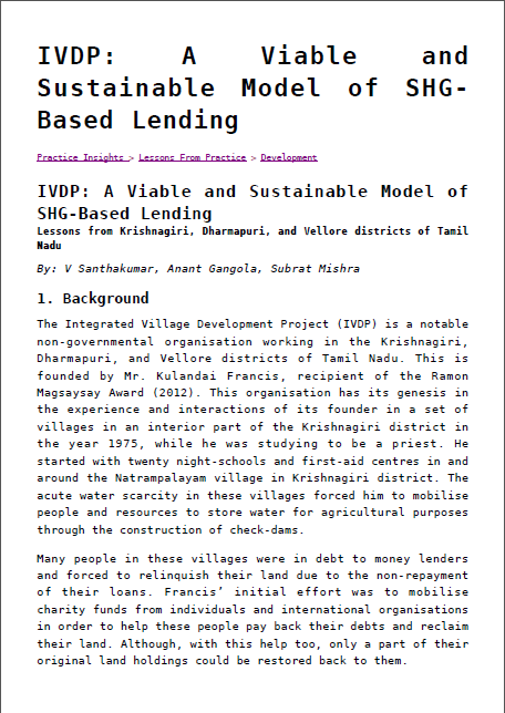 IVDP: A Viable and Sustainable Model of SHG-Based Lending